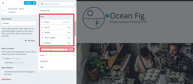 add menu to wordpress website