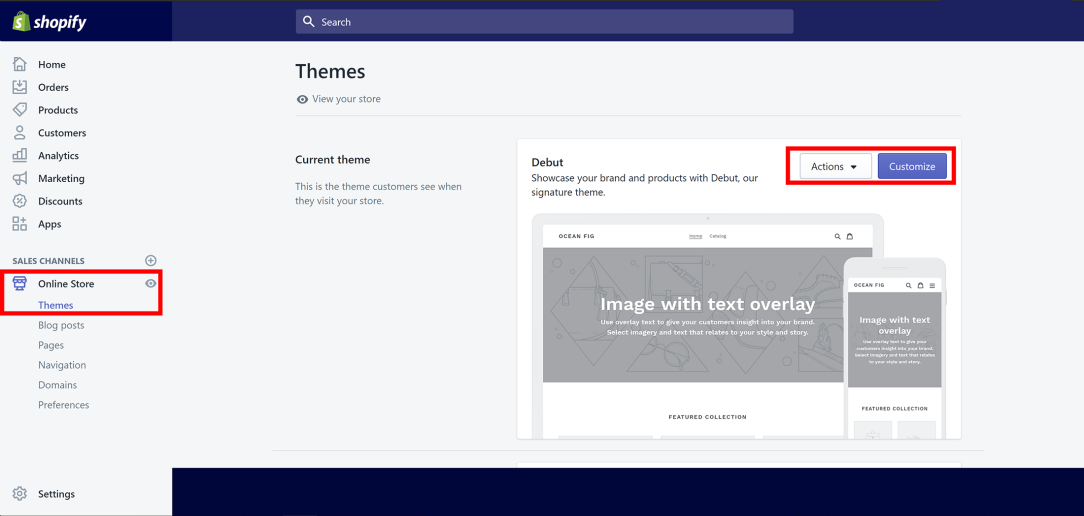 Editing your theme Shopify