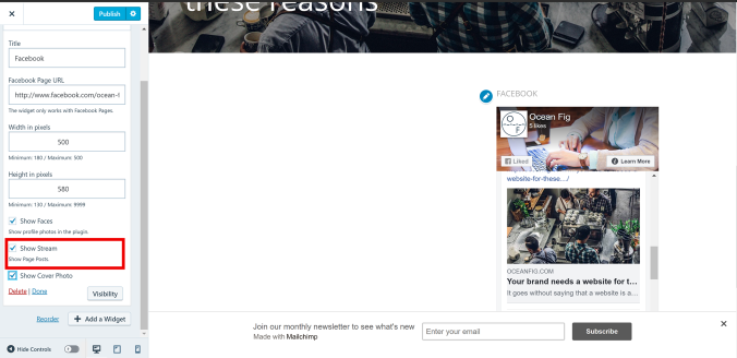 Adding Facebook Widget WordPress
