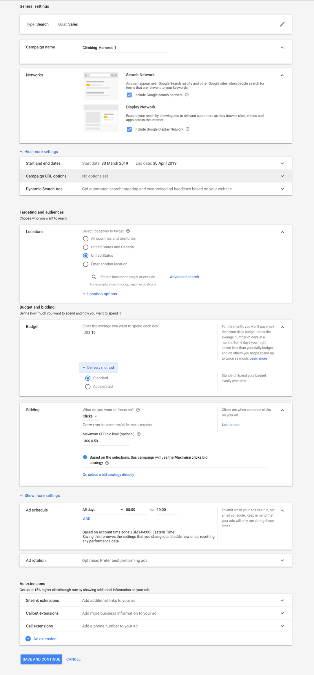 Campaign Settings Page Google Ads